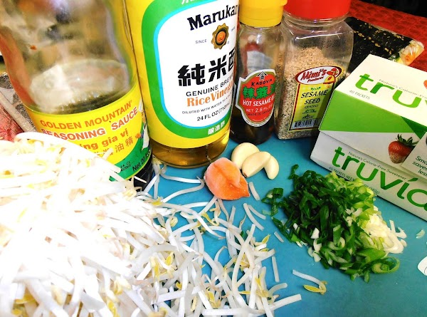 get all ingredients together.  meanwhile combine all the dressing ingredients in a bowl....