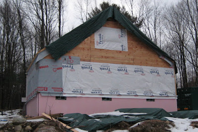 The back of the house with the paper in place