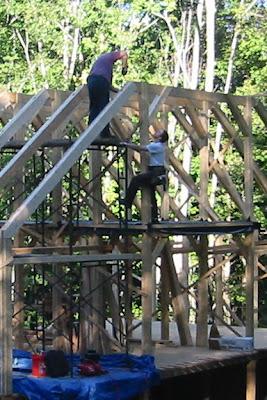 Joe heads up the scaffold