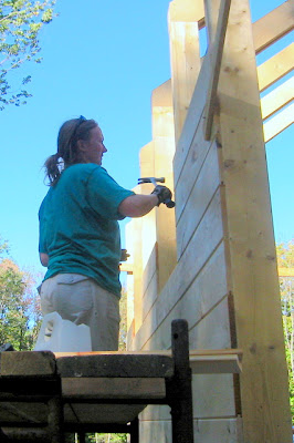 Wendy sheathing the West wall