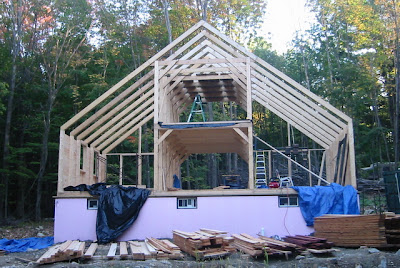 The structural framing completed.