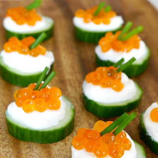 Caviar and Cucumber Bites.