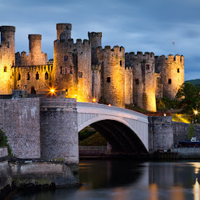 Standing Guard by Neil O'Connell - Buildings & Architecture Public & Historical ( north wales, twilight, castle, conwy, bridge )