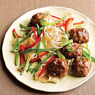 Gingery Pork Meatballs with Noodles.