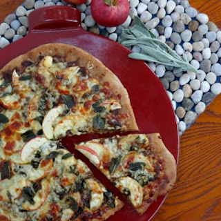 Apple Pizza with Caramelized Onions and Crispy Sage in Brown Butter (Johnny Apple Cheese).