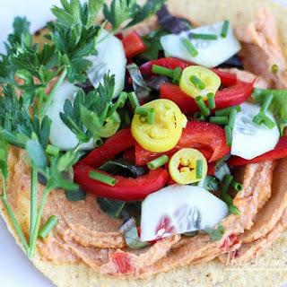 Vegan Veggie + Hummus Tostadas.