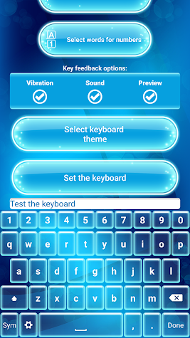 Neon Blue Emoji Keyboard Screenshot