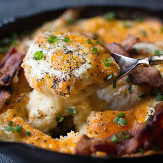 Cheesy Mashed Potato Egg Skillet Casserole.