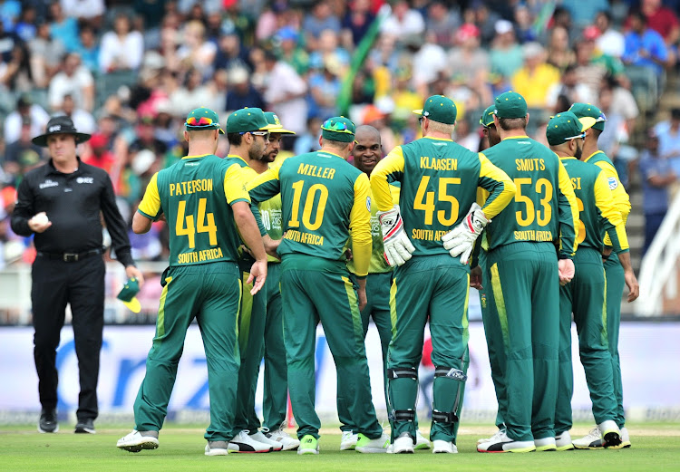 Junior Dala of South Africa celebrates with teammates the wicket of Rohit Sharma of India during the 2018 T20 match between South Africa and India at Wanderers Cricket Stadium, Johannesburg on 18 February 2018.