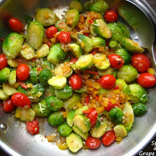 Sauteed Brussels Sprouts with Grape Tomatoes and Black Olives