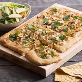Smoked Mozzarella & Cabbage Pizza with Romaine & Apple Salad.