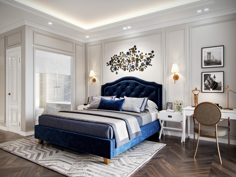 Điểm nhấn cho phòng ngủ là giường màu xanh dương