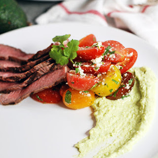 Perfect Grilled Steak with Cherry Tomato Salad and Avocado Crema