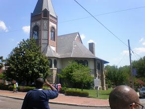 Photo: us walking towards the chapel