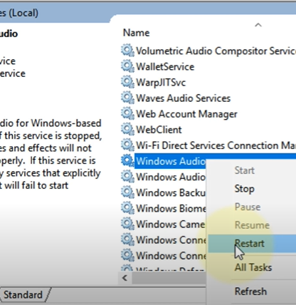 right click on windows audio service and choose restart