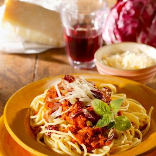 Spaghetti mit Radicchio und Speck