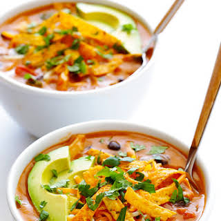 20-Minute Cheesy Chicken Enchilada Soup.