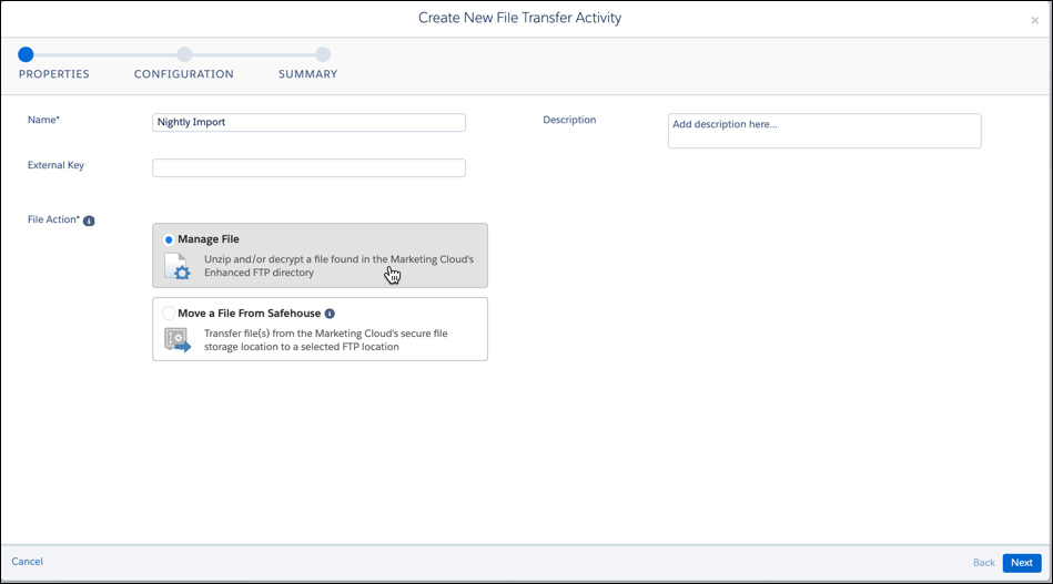 Properties screen for file transfer activity. Manage File being selected