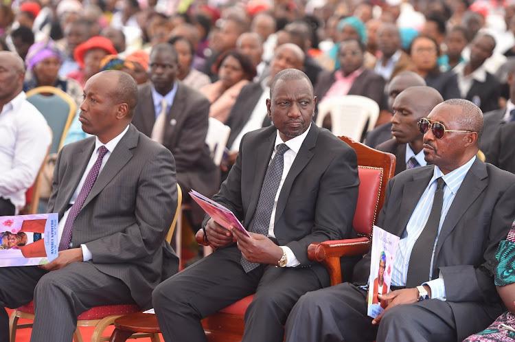 Deputy President William Ruto with Governor Lee Kinyanjui (Nakuru) and MP Kimani Ngunjiri (Bahati) during the burial of Mama Wambui KImotho, mother of former Nakuru Mayor Samuel Mwangi, Nakuru East, Nakuru County on Wednesday, February 26, 2020.