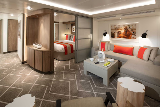 A look at the living room in a Celebrity Suite on Celebrity Edge.
