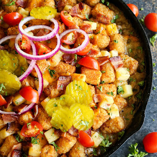 Bacon Cheeseburger Tater Tot Hotdish.