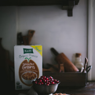 Cranberry Sprouted Grain Coffee Cake With A Kashi Sprouted Grain & Pine Nut Crumb Topping.