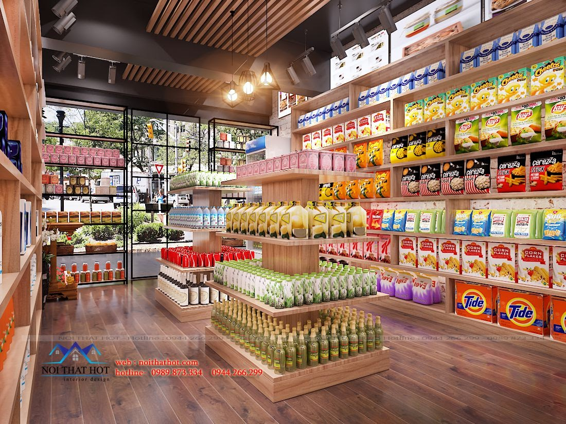 thiết kế cửa hàng bánh kẹo tạp hóa