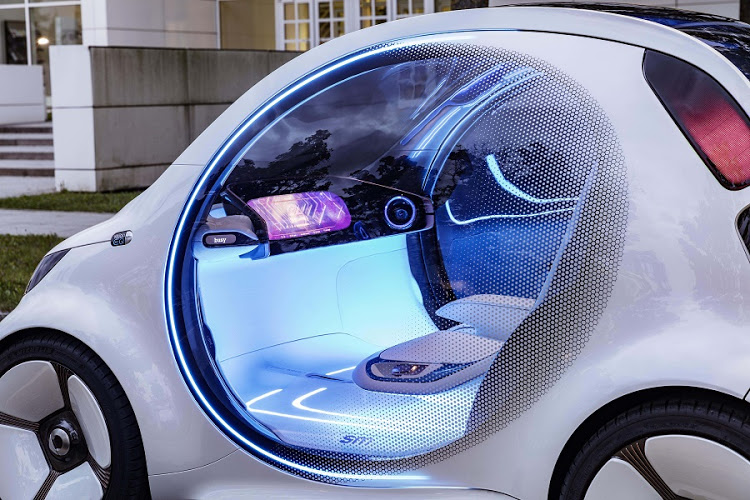 The interior reflects the fact that the concept is a full Level 5 autonomous pod for the city
