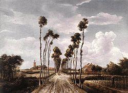 Foto: Meindert Lubbertszoon Hobbema (gedoopt Amsterdam, 31 oktober 1638- Amsterdam, 7 december 1709) was een Nederlandse schilder van landschappen.