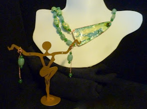 Photo: <BEREHYNYA> {Great Goddess Protectress} unique one-of-a-kind statement jewellery by Luba Bilash ART & ADORNMENT  GREEN MEADOWS - ЗЕЛЕН ГАЙ - copper enamel pendant, aventurine, ceramic beads, rose gold vermeil $150/set SOLD/ПРОДАНИЙ