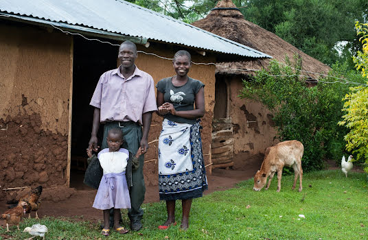 Mother, father and young girl in front of their rural home with a young cow grazing.
