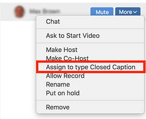assign to type closed caption