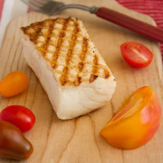 Grilled Brined Wild-Caught Halibut with Green Bean & Tomato Salad.