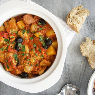 Chicken, Chorizo and Capsicum Casserole.