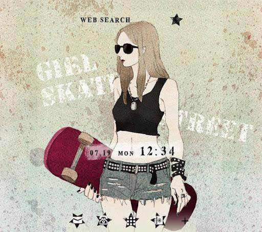 壁紙無料-Girl skater-かわいいきせかえ・アイコン