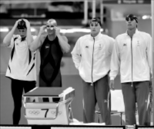 LEFT BEHIND: SA's 4x100 freestyle relay team, from left, is Darian Townsend, Lyndon Ferns, Roland Schoeman and Ryk Neethling. Photo: Wessel Oosthuizen. 11/08/08. © Unknown.