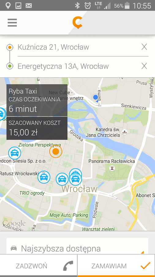 CAB4YOU - taxi application- screenshot