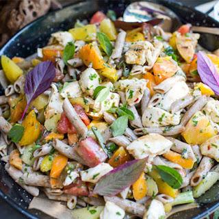 Whole Wheat Pasta Salad With Rainbow Veggies.