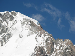 Photo: The summit rocks and the summit ridge, from below. It seems amazing that we got there!