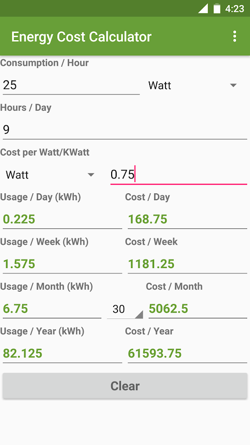 Energy Cost Calculator- screenshot