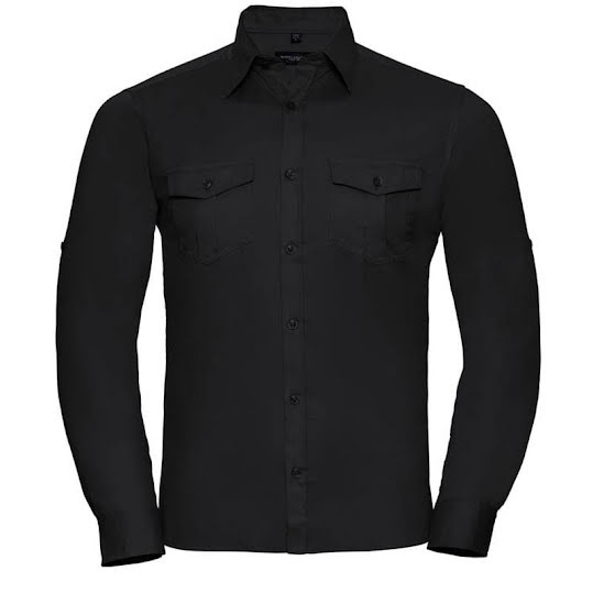 Russell Collection Lång Ärm Shirt Svart Stl, 41/42