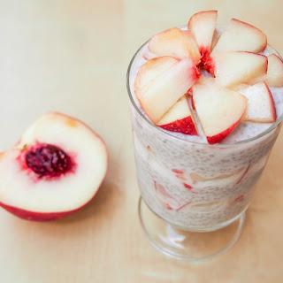 Coconut Chia Pudding With White Peach.