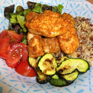 Southern Baked Parmesan Chicken, Courgette, Tomato and Bulgur Wheat Summer Salad Bowl.