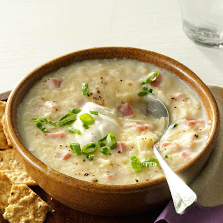 Slow Cooker Potato & Ham Soup.