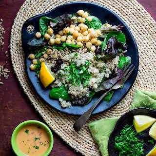 Quinoa Chickpea Salad with Roasted Red Pepper Hummus Dressing.