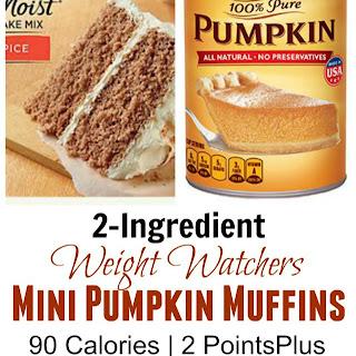 Weight Watchers 2-Ingredient Pumpkin Spice Mini Muffins.