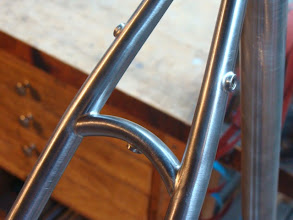 Photo: A nice curved seat stay bridge with a stainless fender boss and stainless rack mounts on the outside of the stays as well.