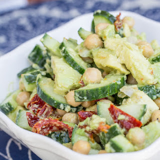 Creamy Cucumber, Avocado, Chickpea, & Sun-Dried Tomato Salad