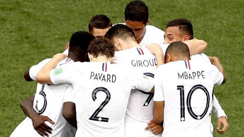 Los jugadores franceses celebrando un gol.