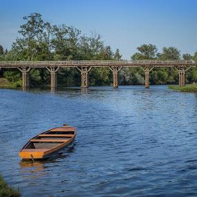 Old mates by Nena Volf - Transportation Boats ( korana, boats, bridge, river,  )